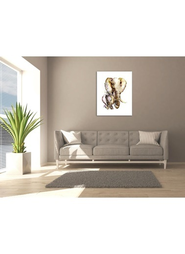 Chic Life Chic Life Fil Ve Yavrusu Kanvas Tablo-30*40 cm Renkli